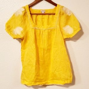 J. Crew Yellow Embroidered Linen Top